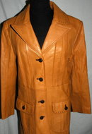 Long Butternut Color Leather Coat   Retro Vintage 70's   ** PRICE REDUCED !*