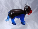 Murano Hand Blown Glass Bull Paper Weight Blue and Red