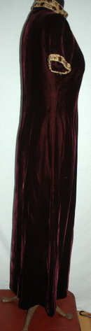 Maroon Velvet Long Dress with Beaded Collar & Trim PRICE REDUCTION!