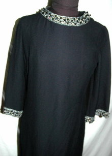 Black Wool Crepe Dress with Beaded Collar and trim