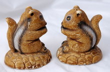 Old Chalk-ware Chipmunk Salt & Pepper Shakers