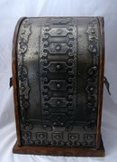 Wine or Liquor Bottle Caddy Case Box  Medieval French Metal and Wood  PRICE REDUCTION!