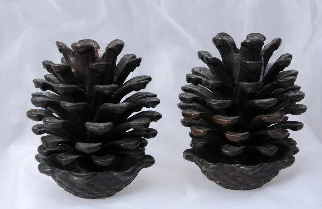 Cast Brass Pinecone Candle Stick Holders