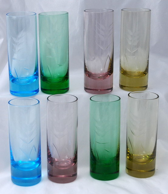 Set of  Vintage Depression Glass  Cordial  8 pieces Multi-  Colored &  Etched