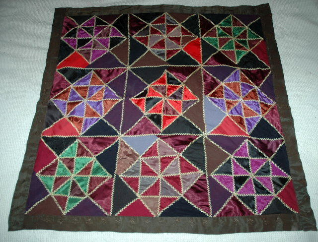 Satin Quilt Wall Hanging, Hand Stitched 36