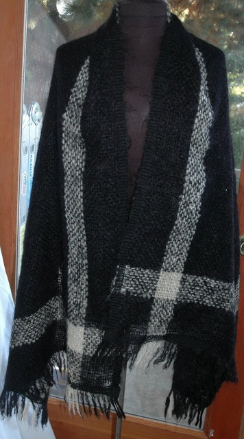Mohair Scarf Shawl Black and White Loose Knit  90