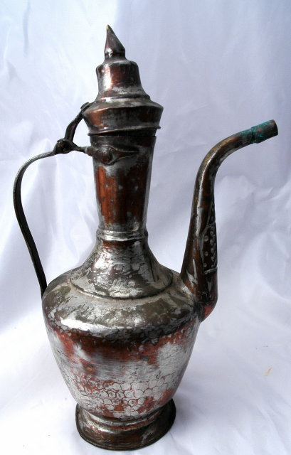 Rustic  Turkish Tinned  Copper  Water Serving Pot  Pitcher with lid * PRICE REDUCED !*
