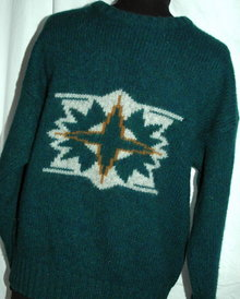 Fendi for Men Sweater 100% Wool Ski Sweater  Blue Green size MED