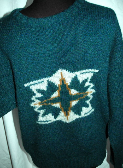 Fendi for Men Sweater 100% Wool Ski Sweater  Blue Green size MED