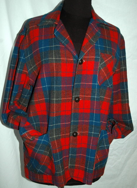 49er  Wool Plaid Shirt Jacket, Blazer in Excellent condition by Viola Adams Blue RED