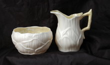 Belleek Fine Porcelain Lily Pattern Creamer & Sugar Bowl