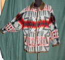 Navajo Design Wool Coat, Leather Trim, vintage