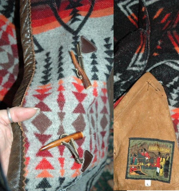 Navajo Design Wool Coat, Leather Trim, vintage