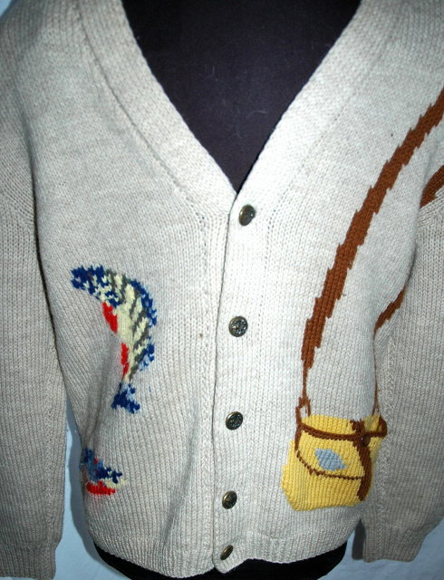 Big Lebowski Wool Shawl Collar Sweater Fly Fisherman Theme, Hand Knit Wool