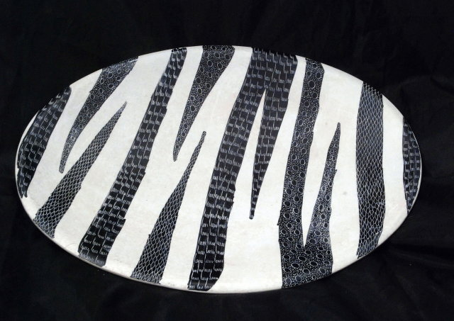 2 Oval Soapstone Plates, hand carved & dyed African Art PRICE REDUCTION!