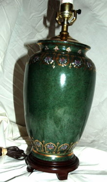 Asian Jade Green  Ginger Jar Porcelain Lamp  Moriage Trim