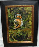 Mid Century Modernist  Oil Painting of Big Eyed Bird, signed  PRICE REDUCTION!