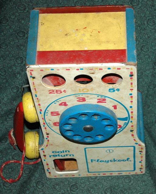 Playskool Vintage Wooden Telephone Toy Pay Phone