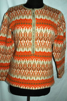 Iceland Wool Sweater Hand Made in Sweden by Jersey Modeller  Orange size 42