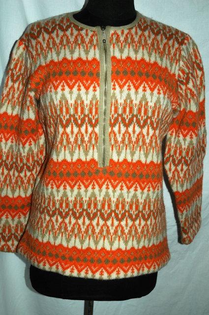 Iceland Wool Sweater Hand Made in Sweden by Jersey Modeller  Orange size 42