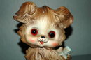 Bisque Puppy Dog Night Light, ceramic with glass eyes