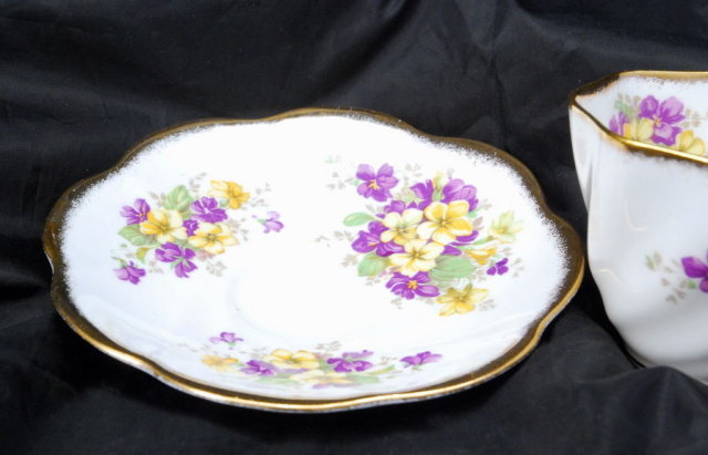 Rosina English Fine Bone China  Tea Cup & Saucer set Yellow & Purple Flowers