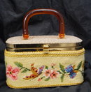 Vintage 60's Julius Resnick  JR Florida Needlepoint Box Purse with Lucite Handle