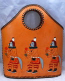 Kachina Purse , Hand Tooled, Painted Leather , excellent
