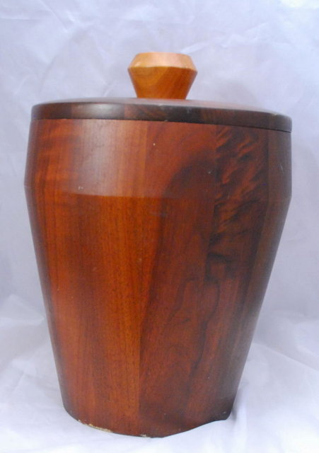 Vermilion Walnut, Solid Walnut Tall Ice Bucket , Mid-Century Modern