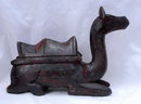 Rustic Folk Art Hand  Carved  Wooden Camel with old dark finish PRICE REDUCTION!