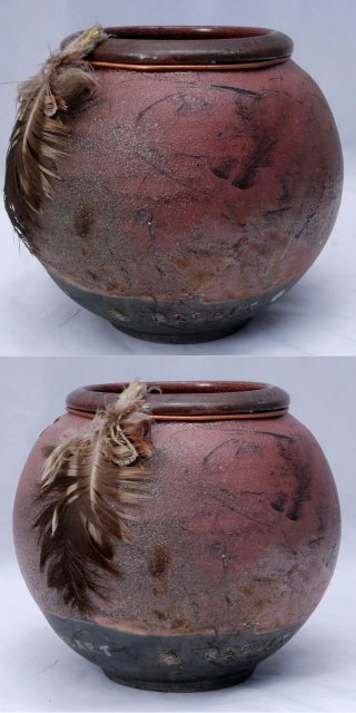 Fire Song Studio Pottery Vase with Rabbit & Feathers PRICE REDUCTION!