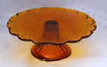 Cognac Amber Pedestal Cake Plate