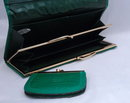 Vintage Green Pressed Leather Pocket Book Wallet , with matching coin purse  Made in Japan