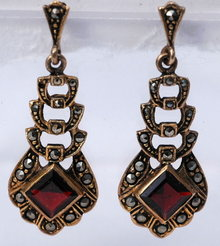 Sterling Vermeil Garnet Earrings with Marcasites
