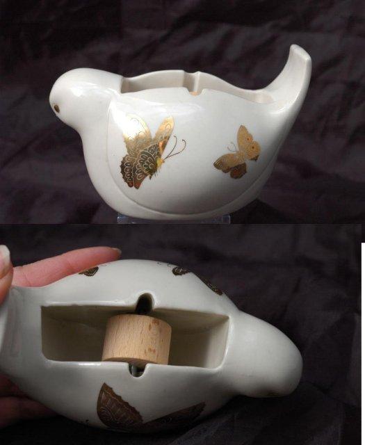 Porcelain Bird Tape Dispenser, Takahasi, Made in Japan