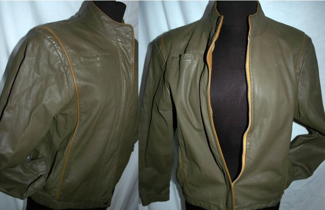 Short Waist Bomber Style  Leather Jacket Size Zipper Front size  10,