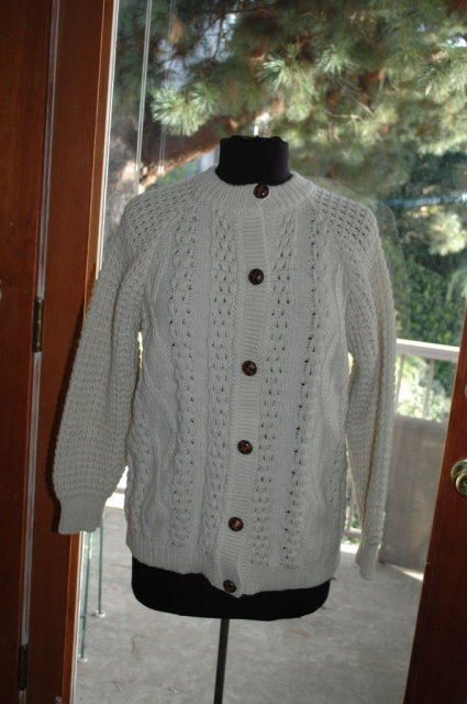 Traditional 100% Hand-knit Irish Fisherman's Clan  Cardigan Sweater made in Ireland by Donegal Handcrafz
