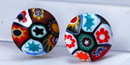 Vintage Italian  Millefiori Glass Clip On Earrings