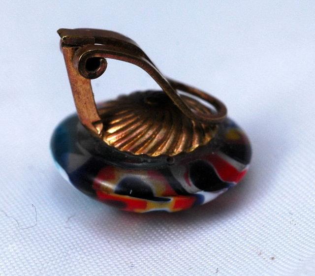 Vintage Italian  Millefiori Glass Clip On Earrings