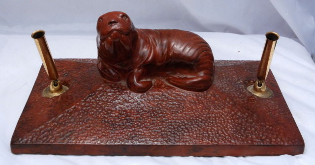 Walrus  Sculpture   Desk Set  Pen Holder, Heavy Pottery from Thorn Canada