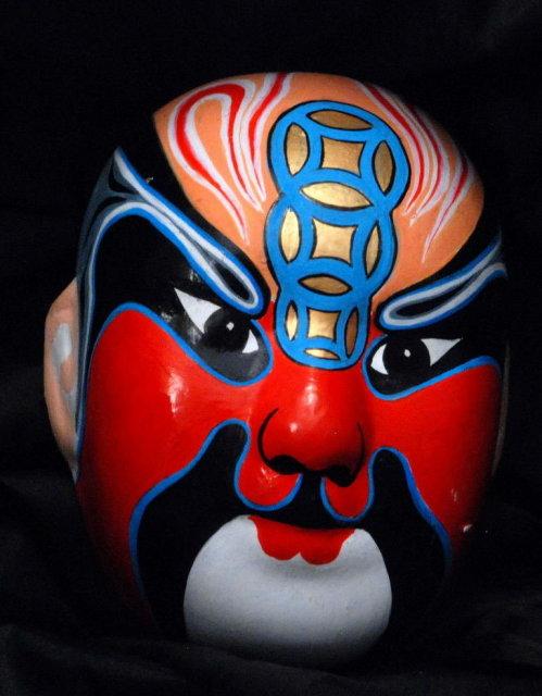 Small Japanese  Painted Ceramic Pottery Opera  Mask