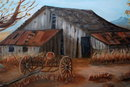 Old Abandoned Barn Scene Oil Painting on Canvas