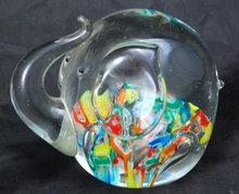 Millefiori Glass  Elephant Paperweight , Murano