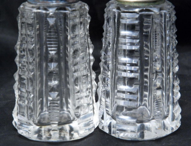 Antique Cut Crystal Salt & Pepper Shakers with silver lids
