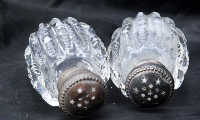 Antique Victorian Brilliant Cut Crystal Salt & Pepper Shakers  /Sterling Tops