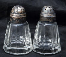 Paneled Crystal Salt & Pepper Shakers with Silver Dome Lids