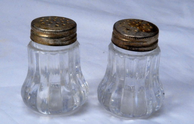 Minature Crystal Salt & Pepper Shakers with Silver   Lids