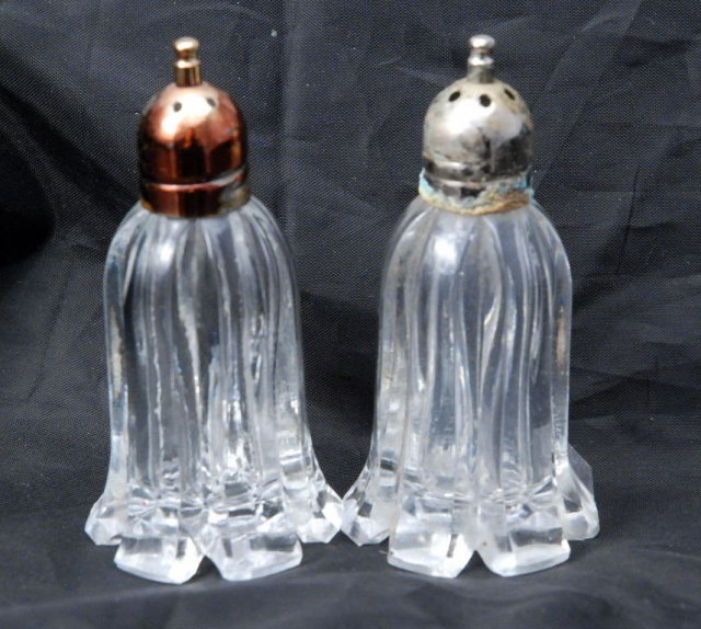 F B Rogers Crystal Salt & Pepper Shakers