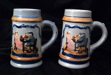 Hand painted matching Beer Steins, mugs