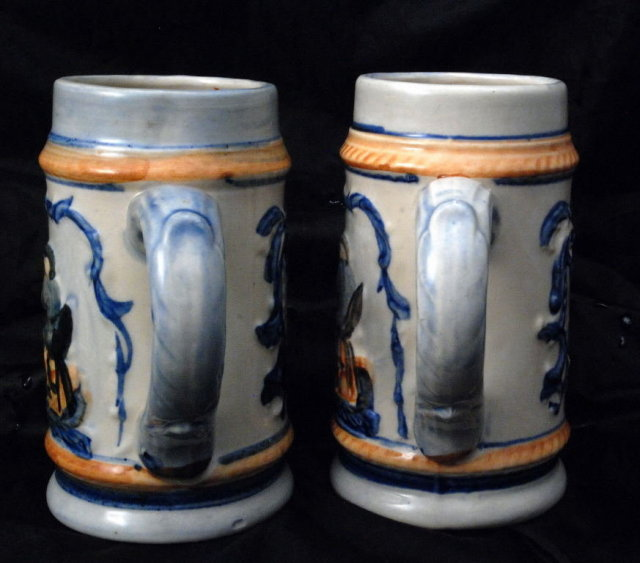 Hand painted matching Beer Steins, mugs Occupied Japan